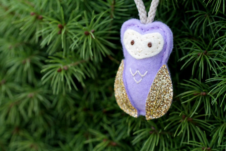 Mini Owl Ornament. Felt Christmas Ornament. Woodland Christmas image 0