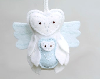 Angel Baby Ornament. Miscarriage Ornament. Loss Remembrance. Owl with Baby Keepsake. Felt Owl Christmas Ornament.