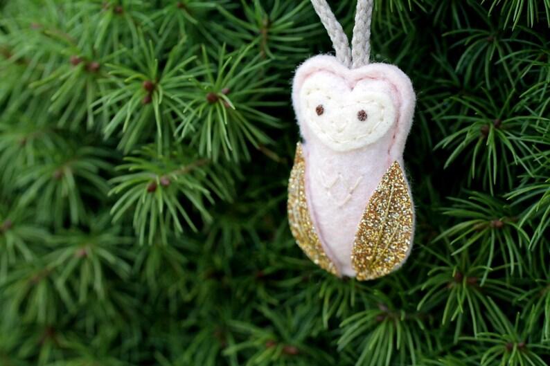 Mini Owl Ornament. Pink Felt Christmas Ornament. Glitter image 0
