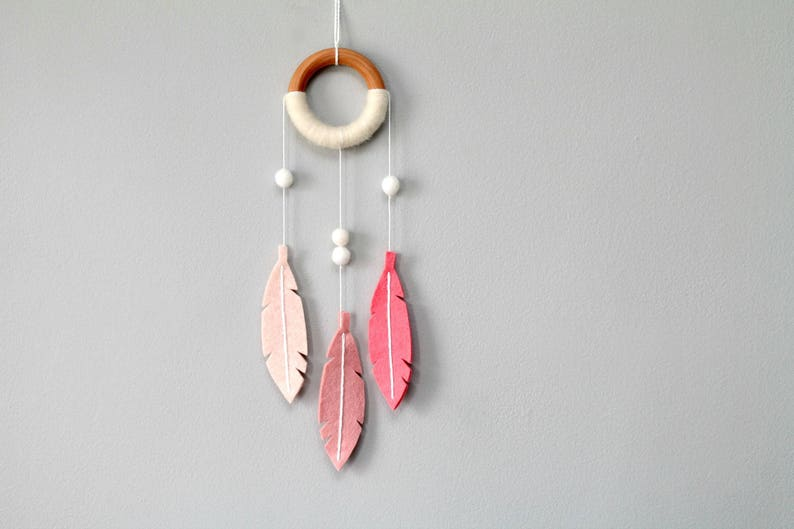 Pink Nursery Dream Catcher. NurseryWall Hanging. Boho Chic image 0