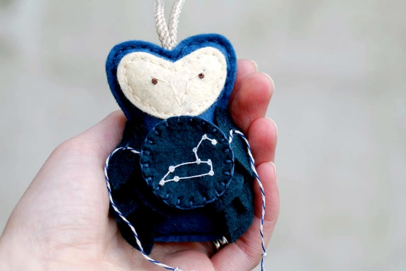 LEO Constellation Zodiac Ornament. Felt Owl Ornament. Unique image 0