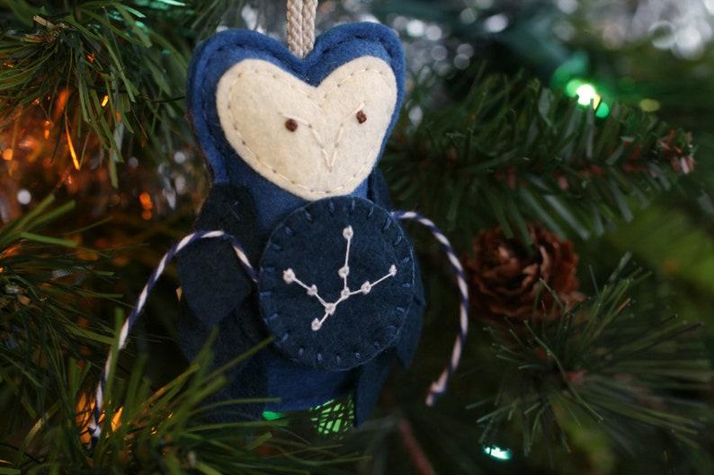 Zodiac Christmas Ornament. Owl Ornament Virgo Constellation. image 0