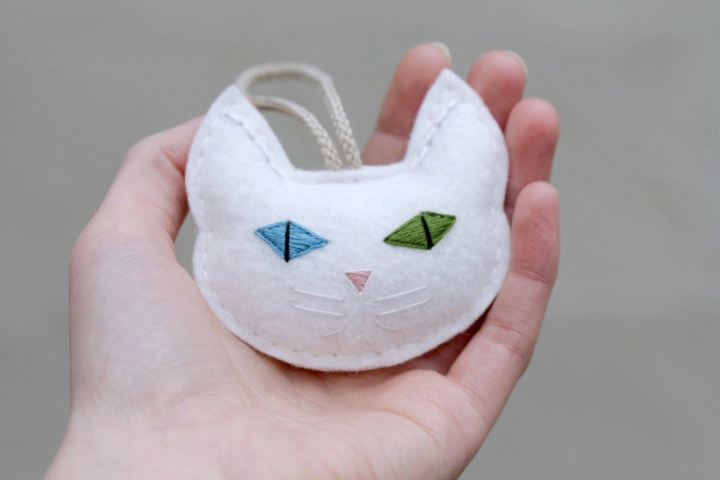 Cat Christmas Ornament Embroidered. White Cat Multi Colored image 0