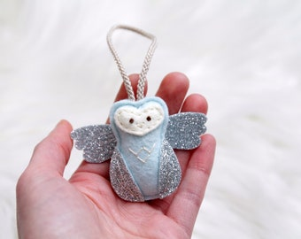 Mini Angel Baby Owl Ornament. Remembrance Ornament. Miscarriage Keepsake.