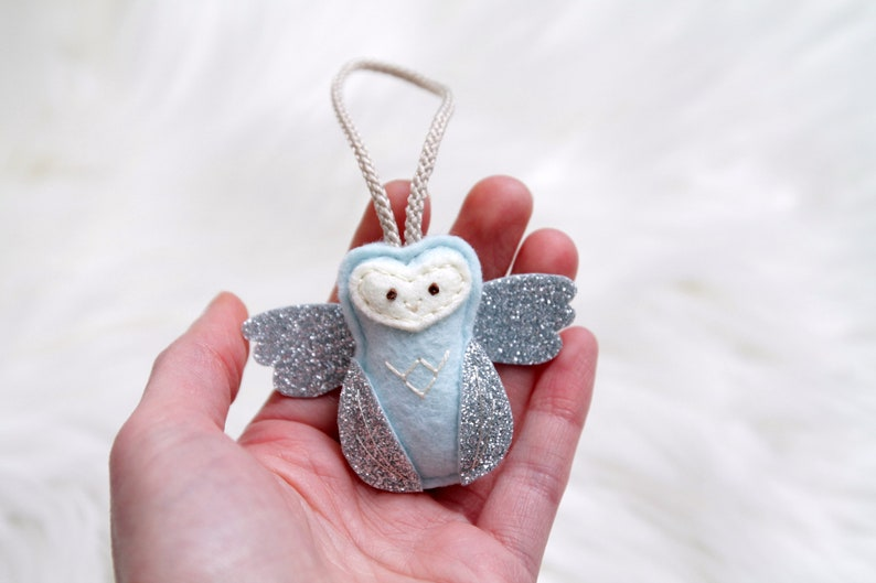 Mini Angel Baby Owl Ornament. Remembrance Ornament. image 0