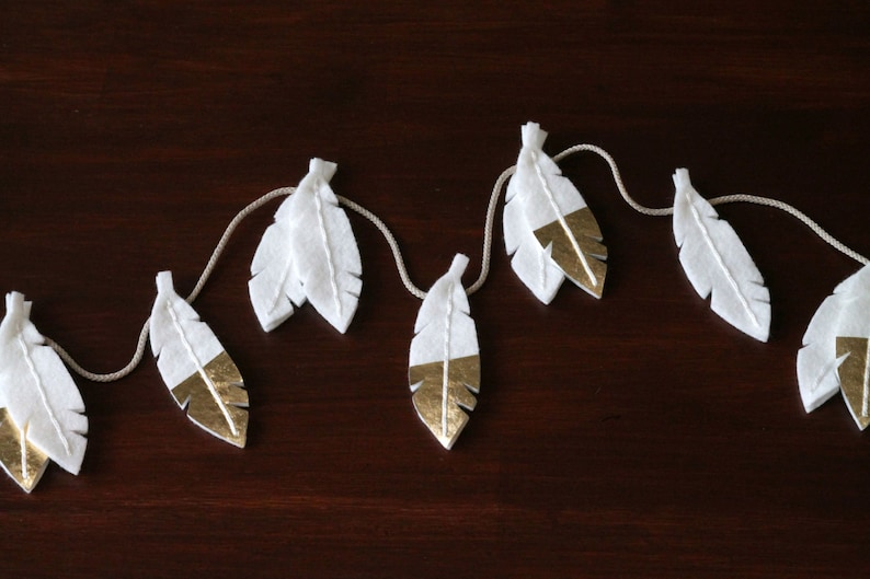 White Feather Garland with Gold Tips. Bohemian Nursery Wall image 0