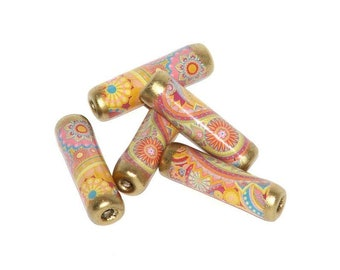Paper beads - Paisley Pastel -  set of five 1 inch long tube beads