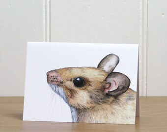 Woodmouse blank greetings card for mouse lovers - 5.75 x 4 inches (14.8 x 10.5cm) with envelope, woodland wildlife notecard, nature notelet