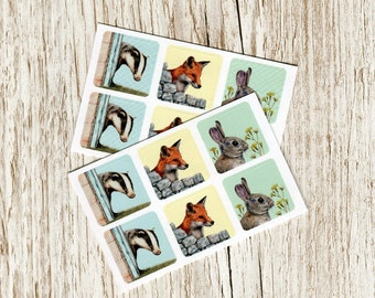 Vinyl sticker set - inc. Badger, Fox and Rabbit - 2 sheets of woodland animals on 1 inch squares, ideal for nature journaling & crafting