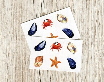 Sticker set - Seashore - 2 sheets of British nature on 1 inch (2.5cm) vinyl squares, fun for beach lovers, bullet journals and crafts