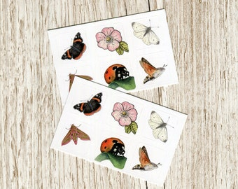 Vinyl sticker set - Butterflies & Moths - 2 sheets of British wildlife on 1 inch squares, insect designs for decoration and crafting