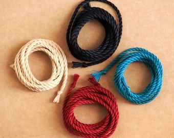 Handmade pure silk cord (2mm wide) – 1 yard/1 metre in Black, Cream, Wine, Teal & more