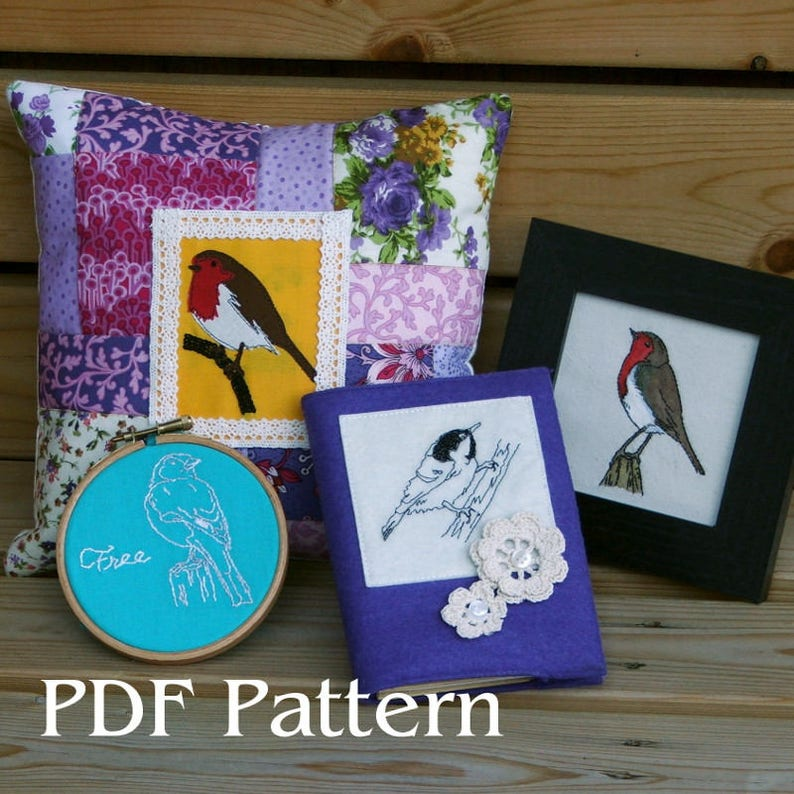 Hand embroidery or applique pattern PDF - British birds - Robin, Wren, Coal  Tit, Sparrow, Chaffinch