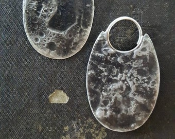 Slice - Lunar Textured Minimalist Geometric Oval Earrings - 14 Gauge Sterling Ear Wires for Stretched Lobes