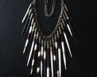 Porcupine Quill Bib Necklace - Hystricidae - Urban Tribal Statement Piece - Stage Jewelry Cosplay