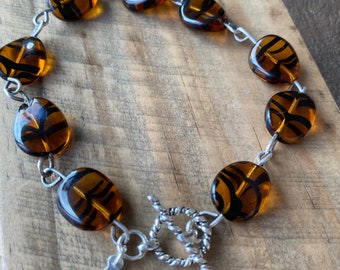 Czech Glass Amber Color Bracelet with Sterling Silver Clasp