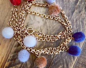 Pompom Gold Plated Long Necklace