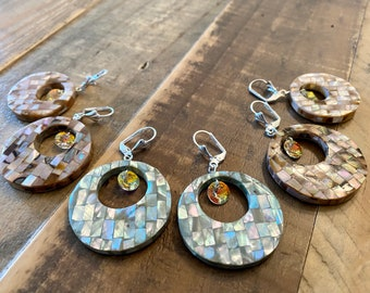 Big Mother of Pearl Earrings with Crystals