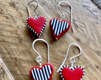 Polymer Clay Heart and Sterling Silver Earrings