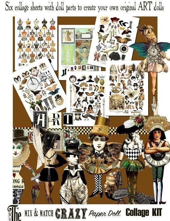 ART TEA LIFE Doll  Printable Kit Artful Gathering Workshop Angel Scrapbook Journal Page Paper Doll Collage Sheet Set of 4