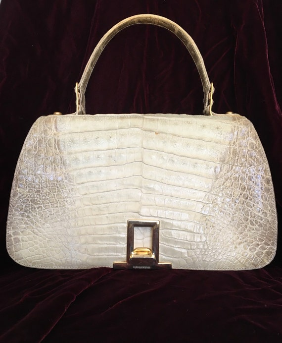 aa6d55bacca1 Items similar to RARE 1950 s Albino Himalayan Crocodile Alligator Handbag  on Etsy