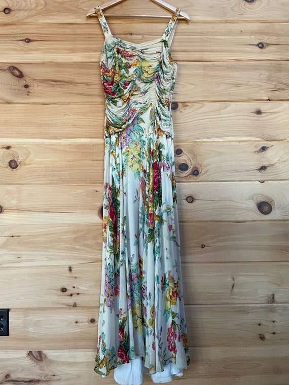 1930's 1940's floral rayon maxi dress