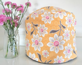 Instant Pot Cover - Reversible - Orange Floral and Brown Faux Bois