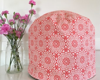 Instant Pot Cover - Reversible - Coral Red Geometric and Green Floral