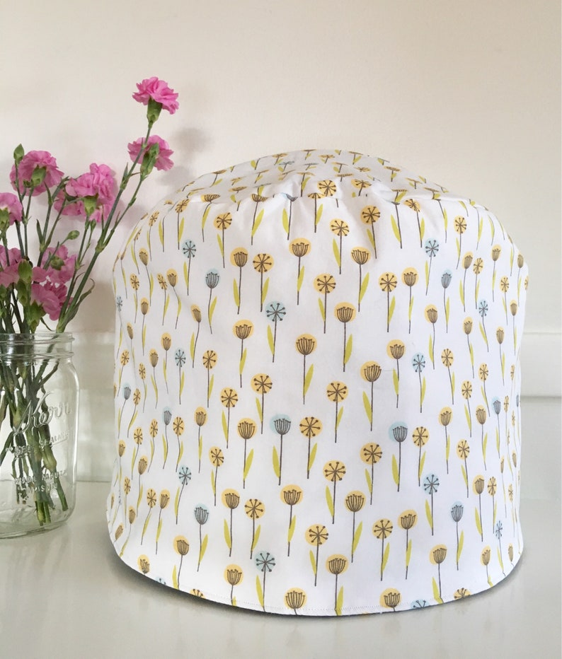 Instant Pot Cover  Reversible  Floral and Stripes on White image 0