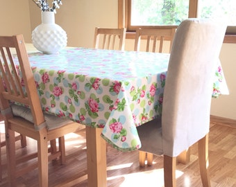 Laminated Cotton Tablecloth - Falling Roses in Blue