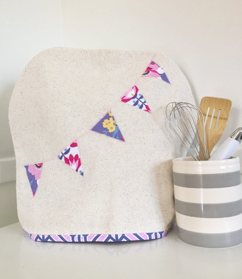 Stand Mixer Cover with Floral Banner in Fuchsia image 0