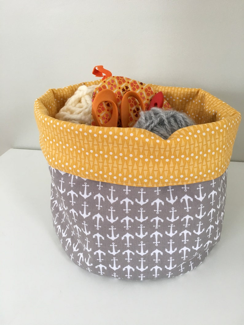 Fabric Storage Basket  Organization Bin  Reversible  Gray image 0