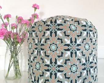 Instant Pot Cover - Reversible - Black, Brown, Blue, and White Geometic