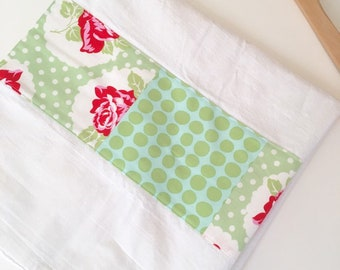 Kitchen Towel in Patchwork - Red Roses and Green Polka Dots