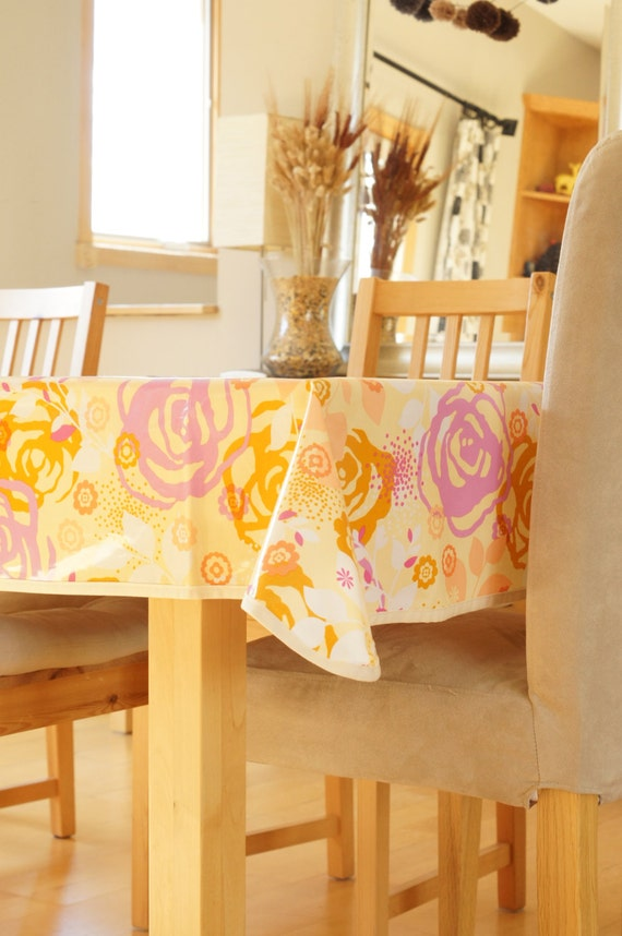 laminated cotton tablecloth saturday floral etsy. Black Bedroom Furniture Sets. Home Design Ideas