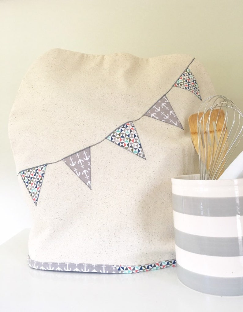 Stand Mixer Cover with Banner in Anchors anf Pinwheels image 0