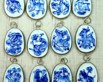 Asian porcelain shard framed charms photos 376