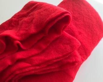 Merino Wool and Silk Prefelt, Red, Made in Italy, DHG, Felting, Feltmaking, Fiber Arts, Nunofelting, Textile Art, Yardage, Supplies