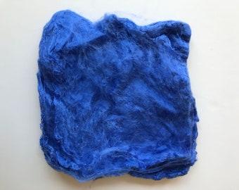 Dyed Silk Hankies, Periwinkle Blue Color, Felting, Spinning, Fiber Arts, Mulberry, Fiber, Mawata, Feltmaking, Nunofelting, Textile Art