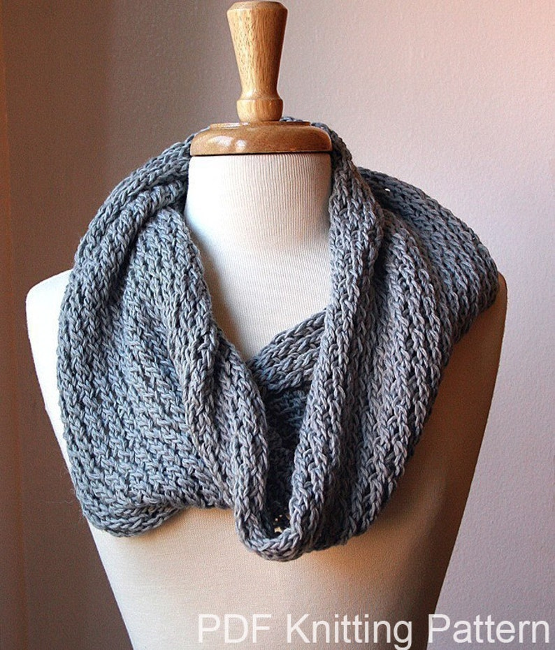 Infinity Circle Scarf Knitting Pattern Snood Loop Bridget Etsy