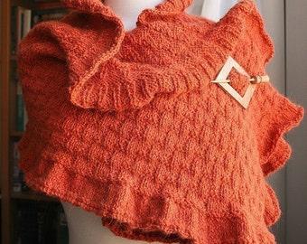 Rococo Shawl / Wrap Knitting Pattern, Designer Elena Rosenberg, PDF Instant Digital Download, Scarf, Wedding, Winter, Fall, Ruffle, Wrap
