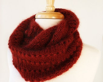 Infinity Scarf Knitting Pattern, GENEVIEVE Cowl, Circle Scarf, Loop Scarf, Lace Scarf, Snood, Mohair, Tutorial, How To, PDF Knitting PATTERN