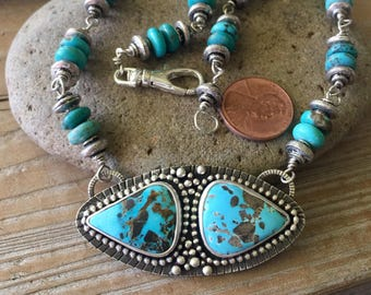 Chunky Turquoise statement silversmith necklace