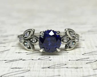 Jasmina Ring - Vintage Inspired Sterling silver ring with Blue Sapphire and CZ engagement ring