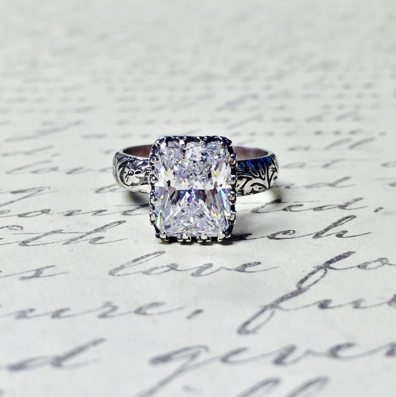 Vivianna Duo Vintage Inspired Beautiful Sterling Silver Ring Floral Ring with Tiara Bezel and Radiant Emerald cut CZ