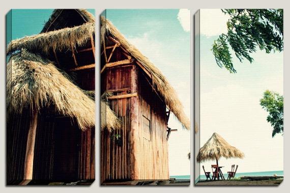 Beach Tiki Hut Wall Canvas Art Surfers Decorations Tiki