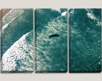 Paragliding, Aerial View, Canvas, Ocean View Art, Pacific Ocean, Beach Decor, Ocean Waves, Surf Art, Triptych, Home Decor