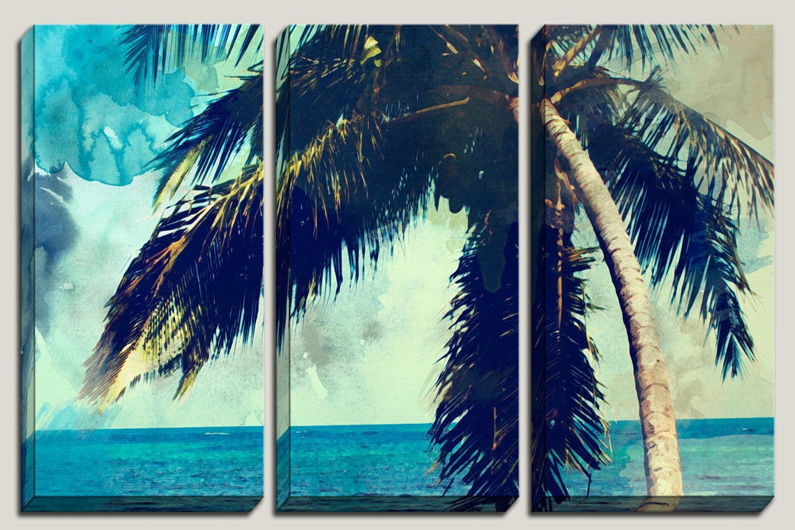 Watercolor art palm tree canvas art watercolor print decorations abstract watercolor caribbean beach coastal triptych photography