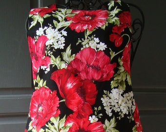 Red and Black Poppies Full Length Bib Style Apron Matching Smaller Print Fabric on the Reverse Side (Adult, Plus Size, Child, Baby, Doll)