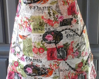 Beautiful Bonjour Paris Apron Full Length Bib Style Matching Pink Flower Fabric on the Reverse Side.  (Adult, Plus Size, Child, Baby, Doll)